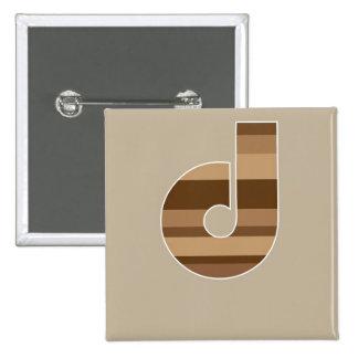 Brown Striped Monogram - Letter D Pinback Button