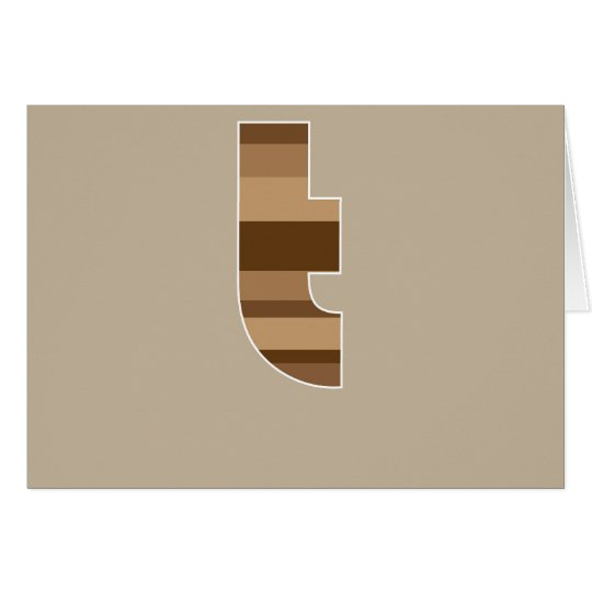 Brown Striped Monogram - Letter T Card
