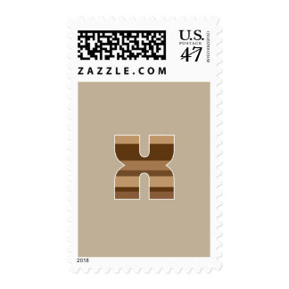 Brown Striped Monogram - Letter X Stamp