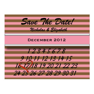 Brown Striped Pink Save the Date Custom Calandar Postcard