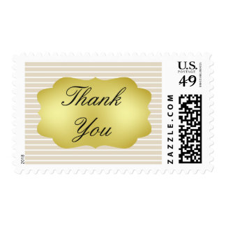 Brown Striped  Thank You Gold Swirl Text Postage