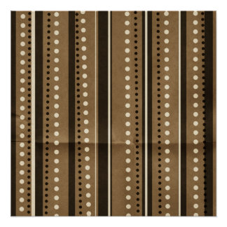 Brown Stripes and Dots Creased background Poster