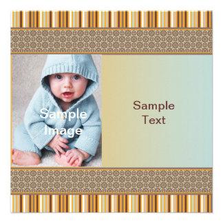 Brown Stripes Birthday/Birth Custom Invitations