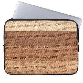 Brown Stripes Burlap Rustic Jute Laptop Sleeve