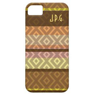 Brown Stripes Diamond Pattern Monogram iPhone Case iPhone 5 Cover