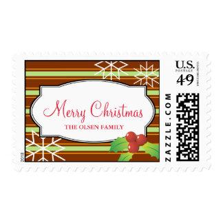 Brown stripes holly merry christmas snow flakes postage