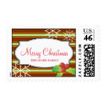 Brown stripes holly merry christmas snow flakes postage stamp