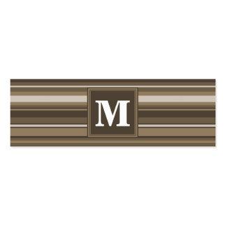 Brown stripes mini business card