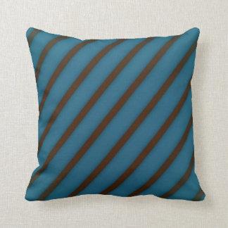 Brown stripes on blue throw pillow