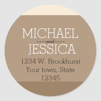 Brown Stripes Personalized name and address Classic Round Sticker