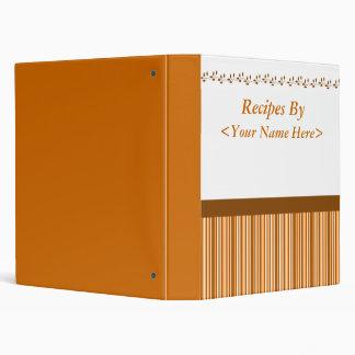 Brown Stripes Recipe Book 3 Ring Binder
