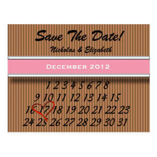Brown Stripes Save the Date Custom Calandar Postcard