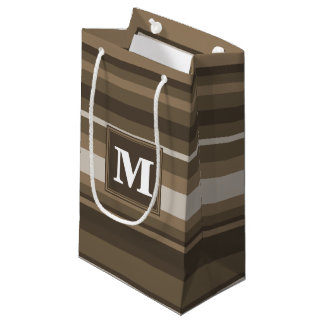 Brown stripes small gift bag