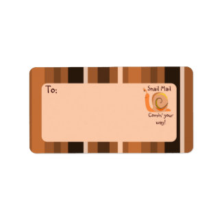 Brown Stripes Snail Mail Mailing Address Labels