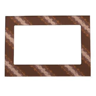 Brown Stripes with Circles Pattern Photo Frame Magnet