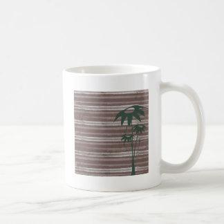 Brown Stripes with teal greenery Coffee Mug