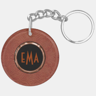 Brown Suede Leather Floral Design Double-Sided Round Acrylic Keychain