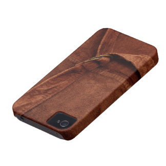 Brown Suede With Strap And Buckle iPhone 4 Case