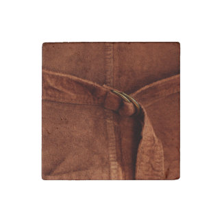 Brown Suede With Strap And Buckle Stone Magnet