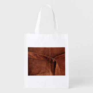 Brown Suede With Strap And Buckle Grocery Bags