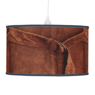 Brown Suede With Strap And Buckle Hanging Lamp