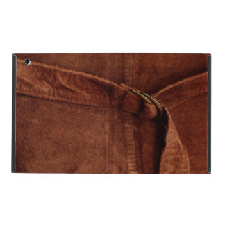 Brown Suede With Strap And Buckle iPad Case