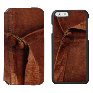 Brown Suede With Strap And Buckle iPhone 6/6s Wallet Case