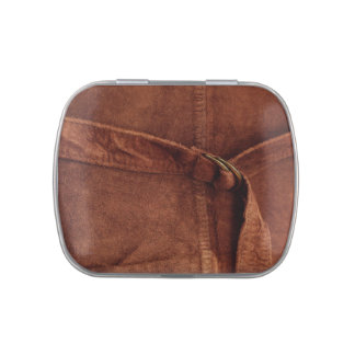 Brown Suede With Strap And Buckle Jelly Belly Tin