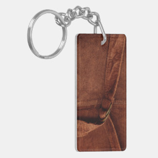 Brown Suede With Strap And Buckle Rectangle Acrylic Keychain