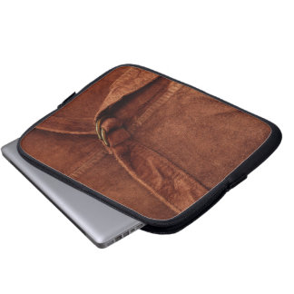 Brown Suede With Strap And Buckle Laptop Sleeve