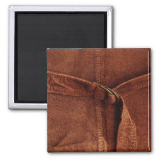 Brown Suede With Strap And Buckle 2 Inch Square Magnet