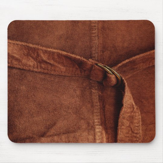 Brown Suede With Strap And Buckle Mouse Pad