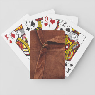 Brown Suede With Strap And Buckle Poker Cards