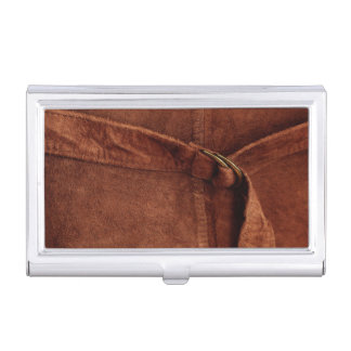 Brown Suede With Strap And Buckle Business Card Holder