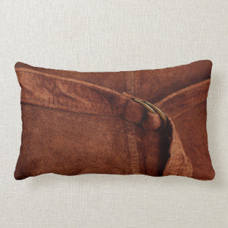 Brown Suede With Strap And Buckle Pillow