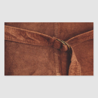 Brown Suede With Strap And Buckle Rectangular Sticker