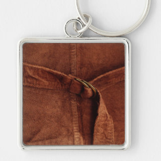 Brown Suede With Strap And Buckle Silver-Colored Square Keychain