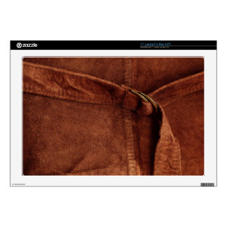 Brown Suede With Strap And Buckle Skins For Laptops