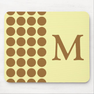 Brown Sugar Cream Neutral Dots with monogram Mouse Pad
