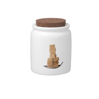 Brown sugar cubes candy jar