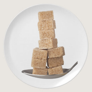 Brown sugar cubes dinner plate