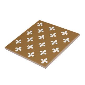 Brown Sugar Neutral Fleur de Lys Small Square Tile