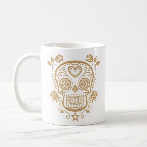 Brown Sugar Skull with Roses Coffee Mug