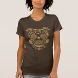 Brown Sugar Skull with Roses T-shirts
