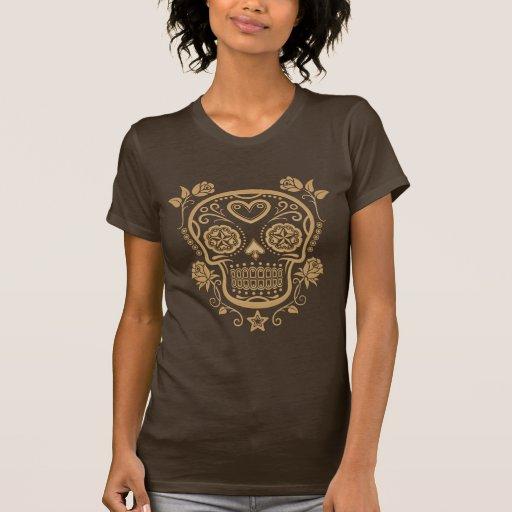 Brown Sugar Skull with Roses Tshirts