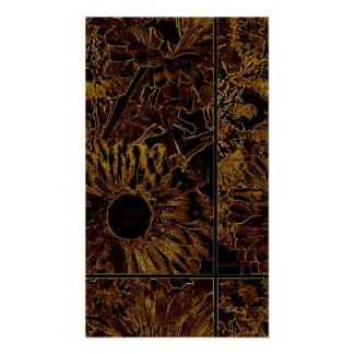 "Brown Sunflower on 24"" x 20"", Premium Canvas Gloss Poster"