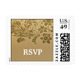 brown sunflowers elegant wedding RSVP postage
