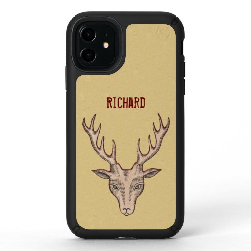Brown Surreal Deer Head Big Antlers Red Outline Speck iPhone 11 Case