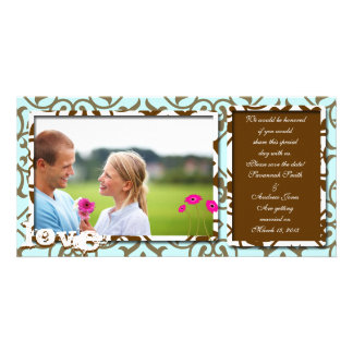 Brown Swirl Damask & Gerbers on Blue Save The Date Personalized Photo Card