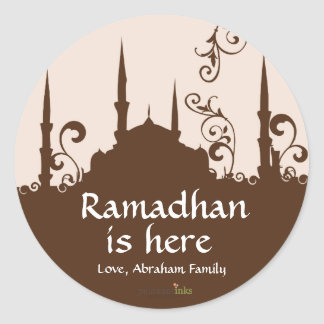 Brown Swirl Mosque Stickers